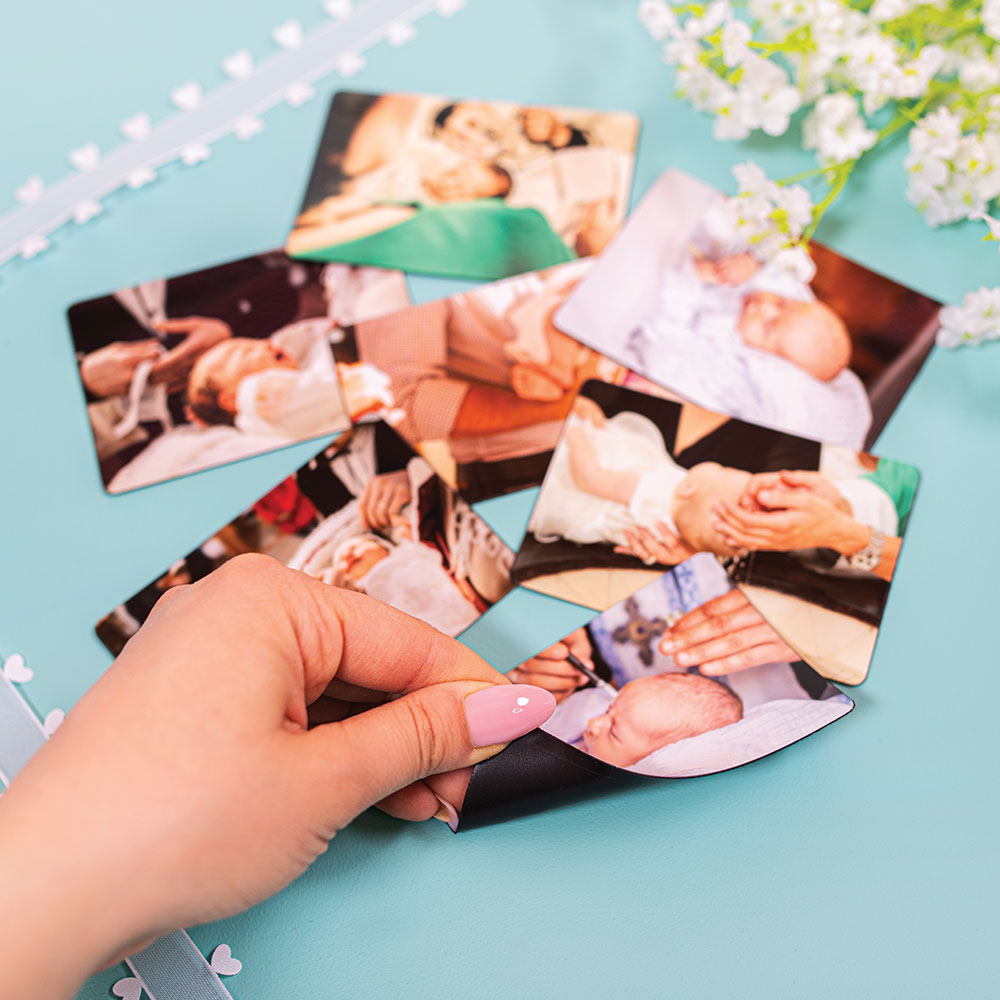 fotoMagnesy na chrzest 9 x 6 cm + koperty złote 8 sztuk