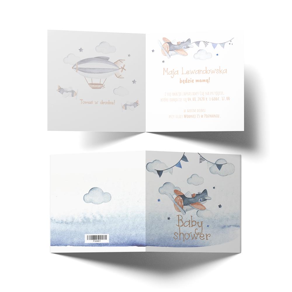Zaproszenie na Baby Shower akwarele samoloty chłopiec