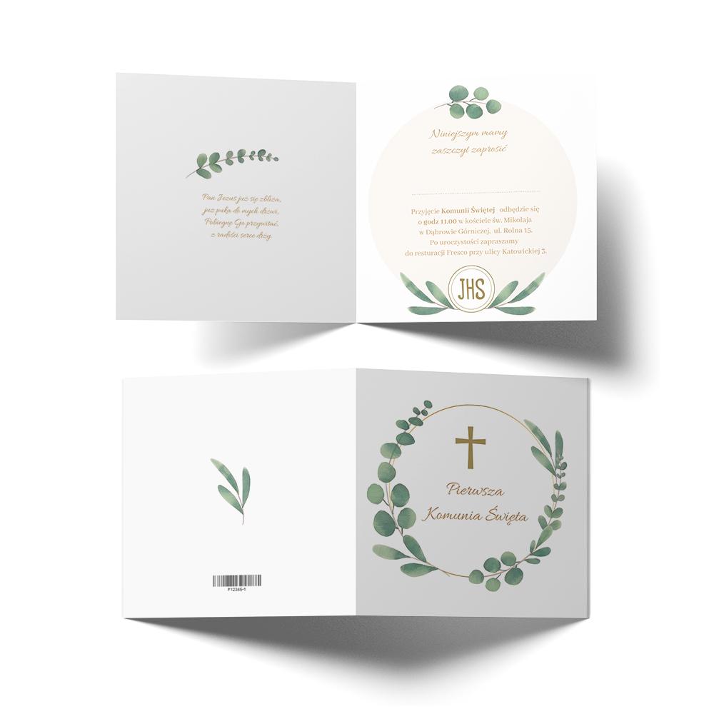 Zaproszenie na komunię rustykalne zielone listka gałązki