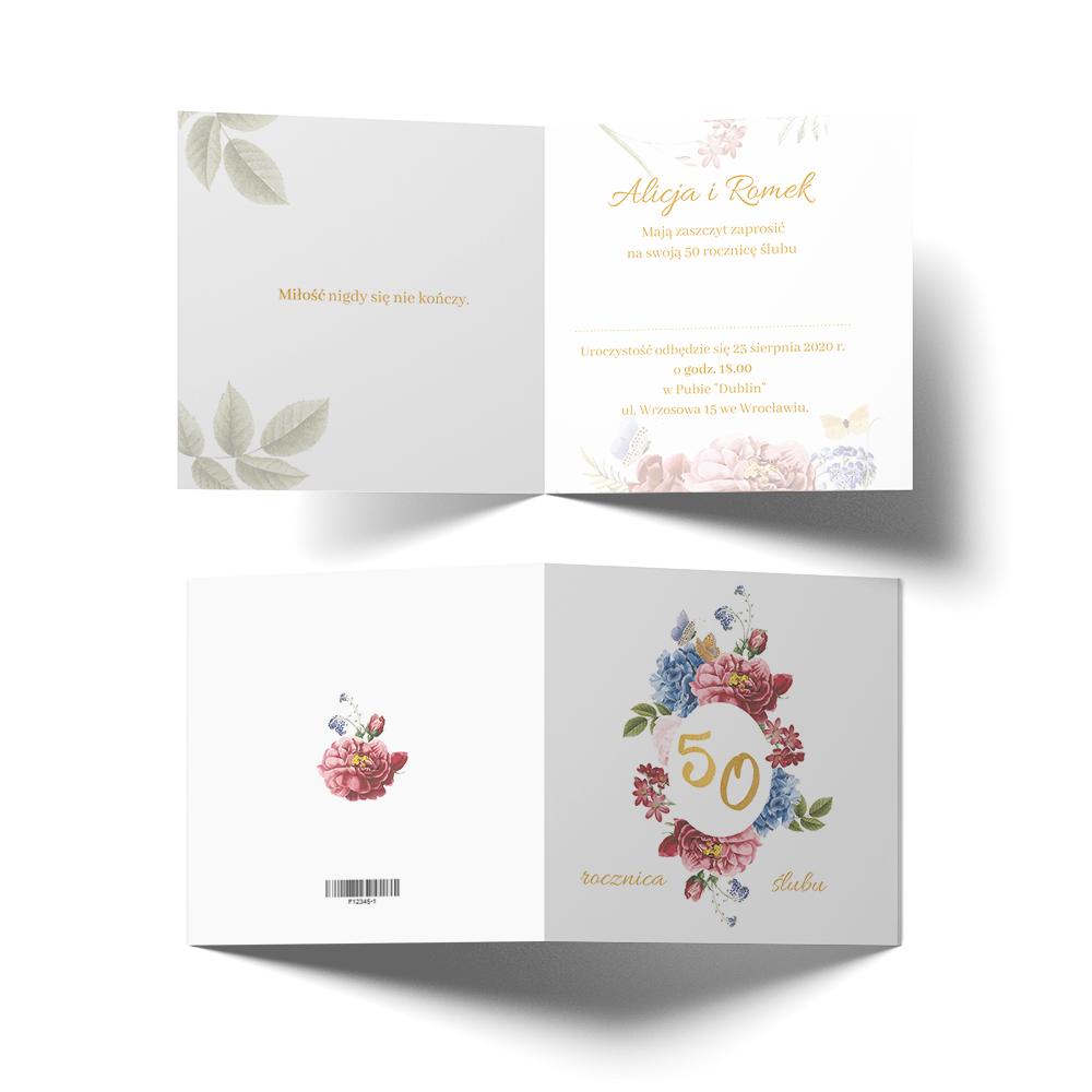Zaproszenie na jubileusz 50 rocznicę ślubu 50 urodziny kwiatowe