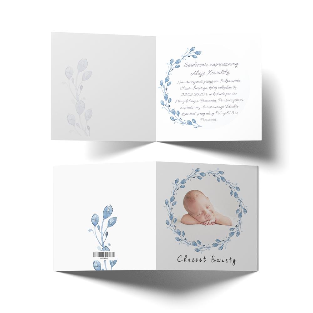 Zaproszenie ze zdjęciem na chrzest komunię roczek niebieskie delikatne listki