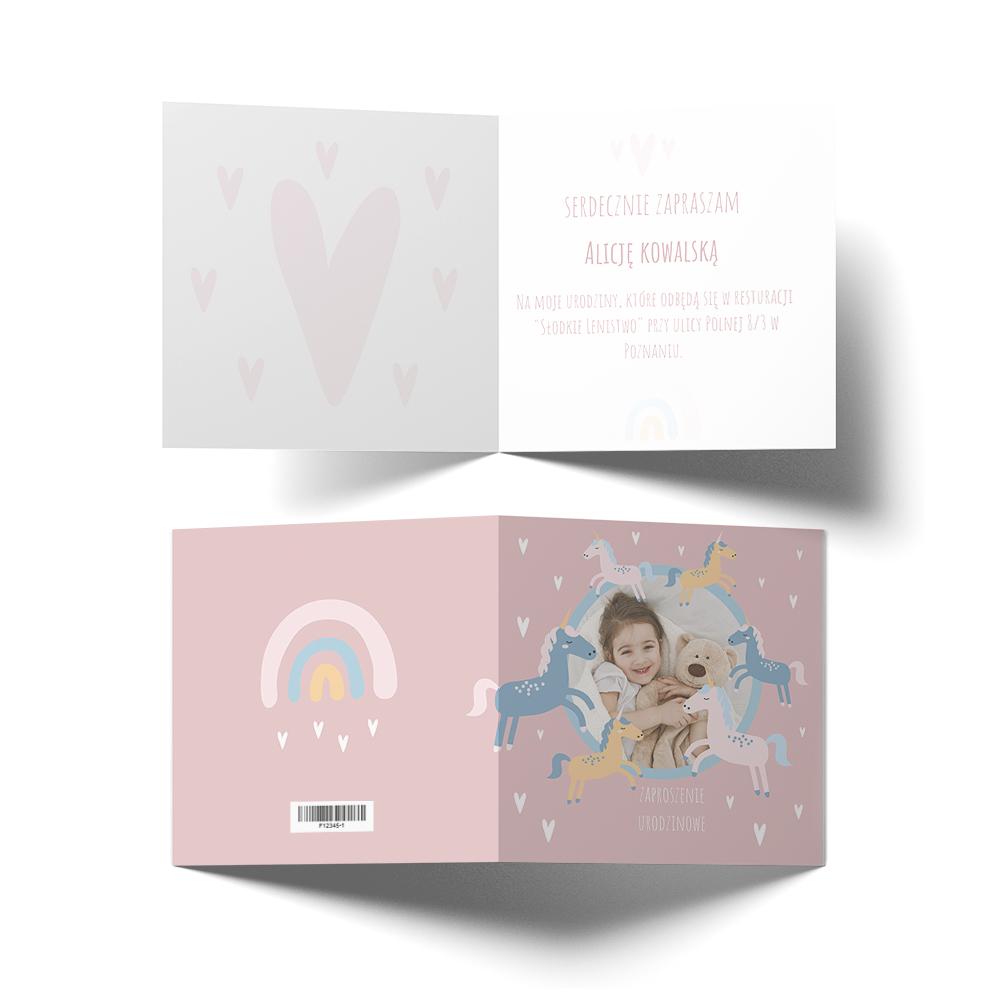 Zaproszenie ze zdjęciem na chrzest komunię roczek dla dziewczynki różowe jednorożce