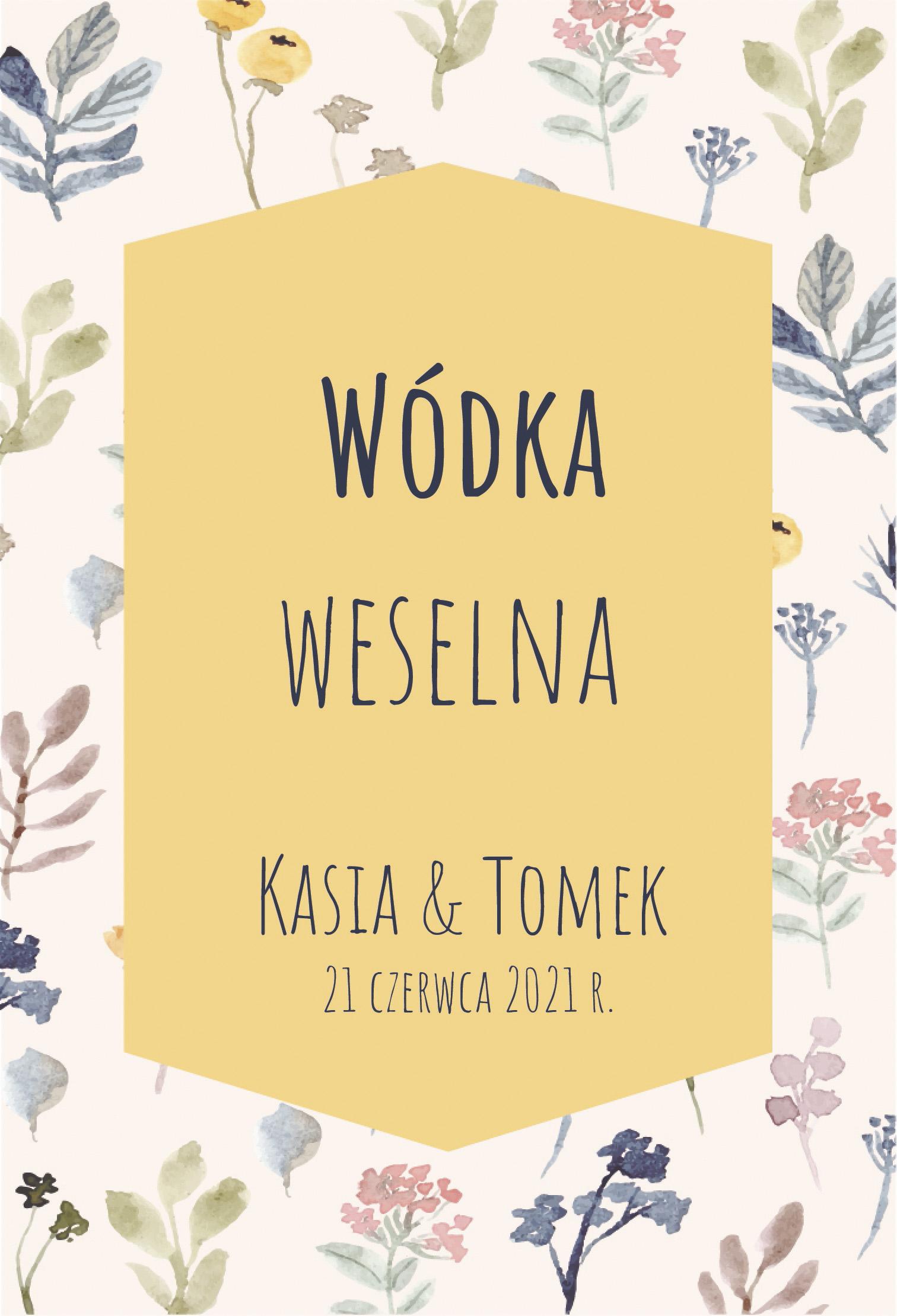 Etykiety, naklejki na wódkę weselną, alkohol kwiaty polne