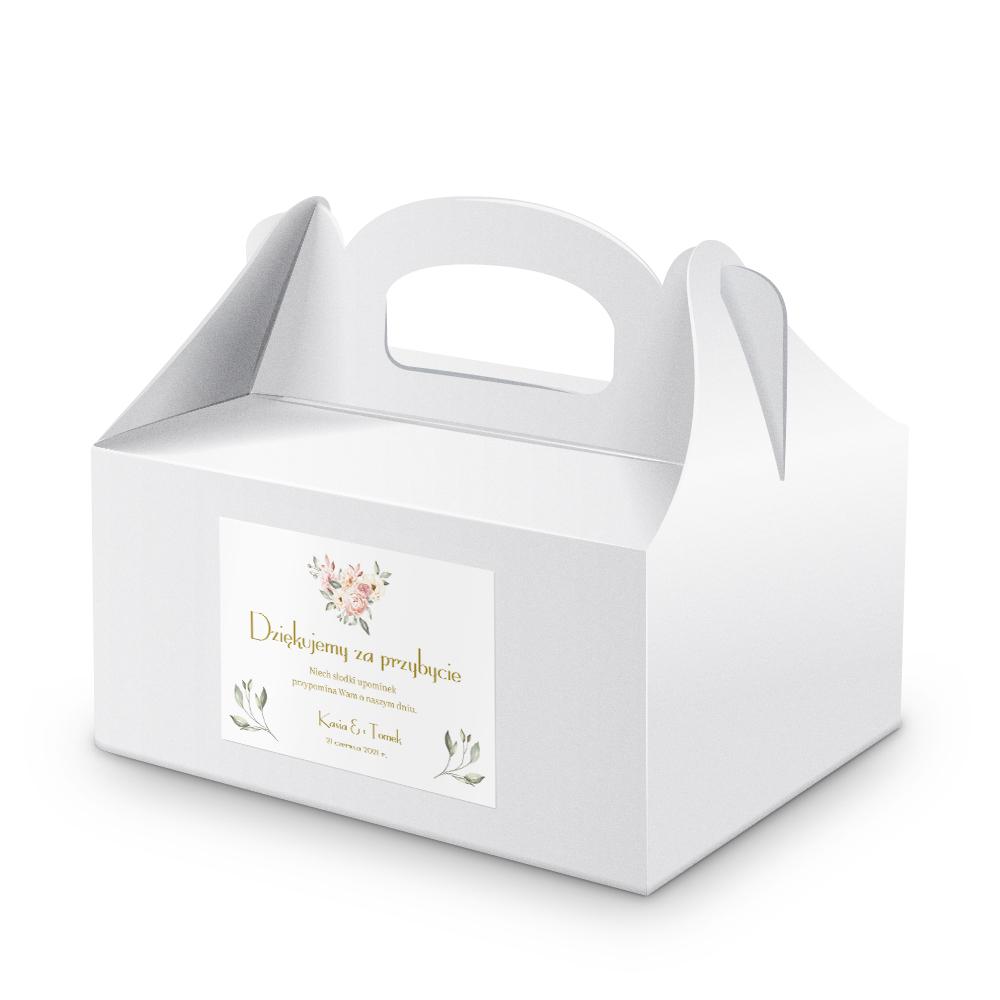 Naklejki etykiety na pudełka na ciasto weselne kwiatowe róże