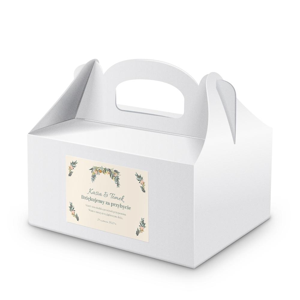 Naklejki etykiety na pudełka na ciasto weselne kwiatowe