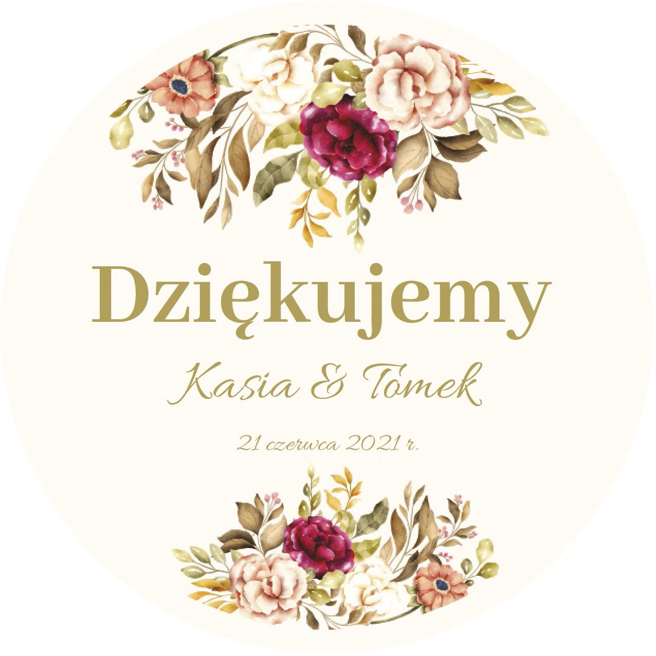 Naklejki ślubne personalizowane podziękowania złote boho kwiaty