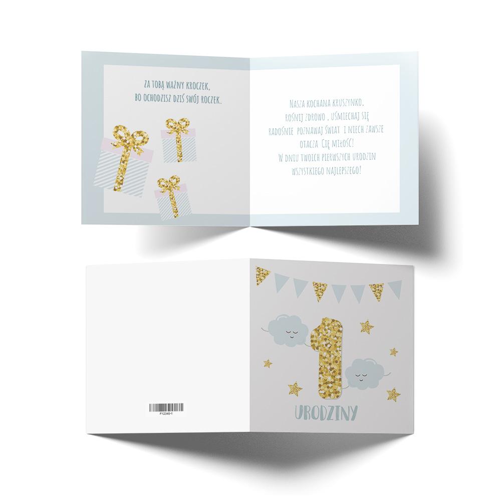 Kartka urodzinowa z życzeniami roczek złota chmurki