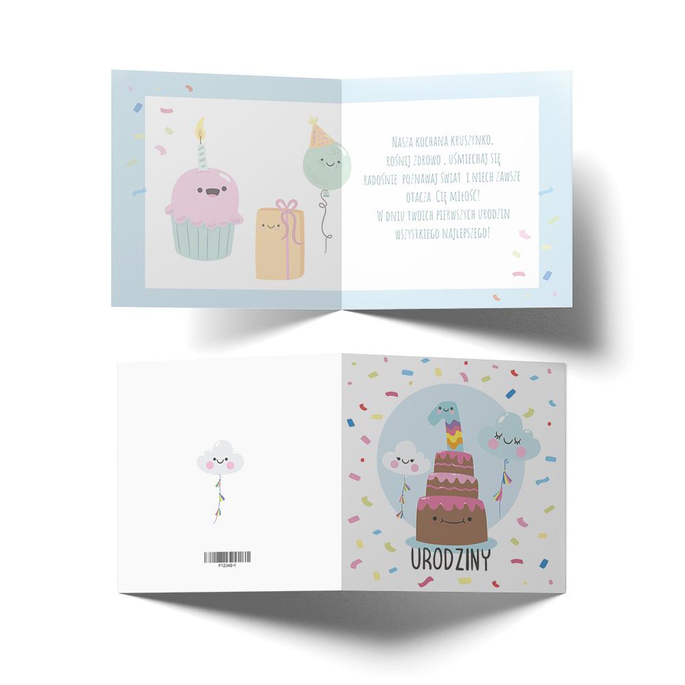 Kartka urodzinowa z życzeniami roczek tort babeczki