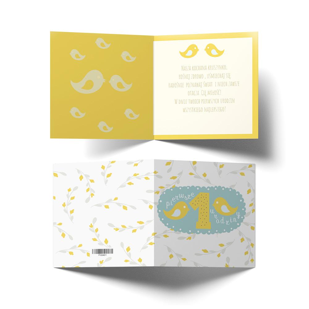 Kartka urodzinowa z życzeniami roczek żółta ptaszki