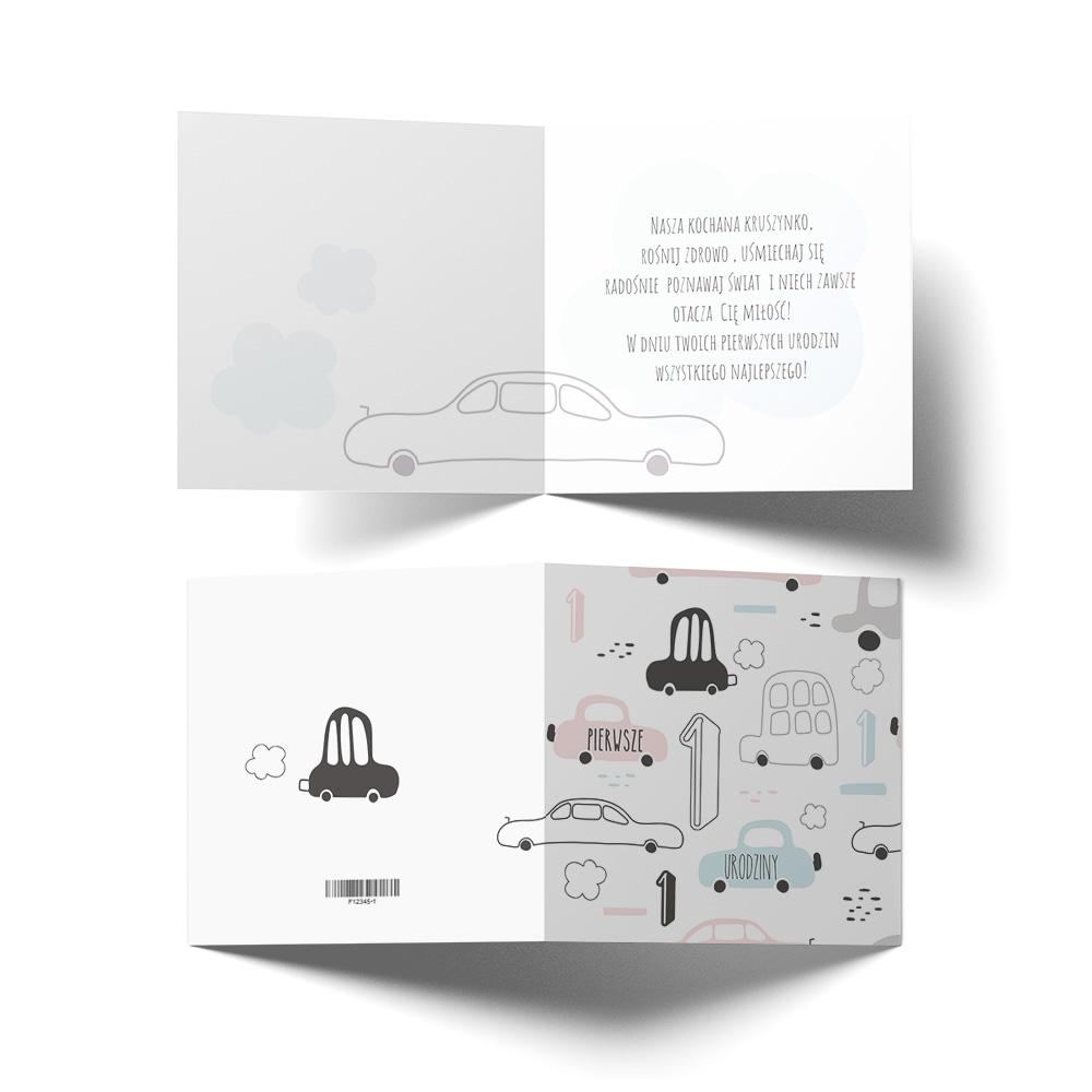 Kartka urodzinowa z życzeniami dla chłopca roczek auta