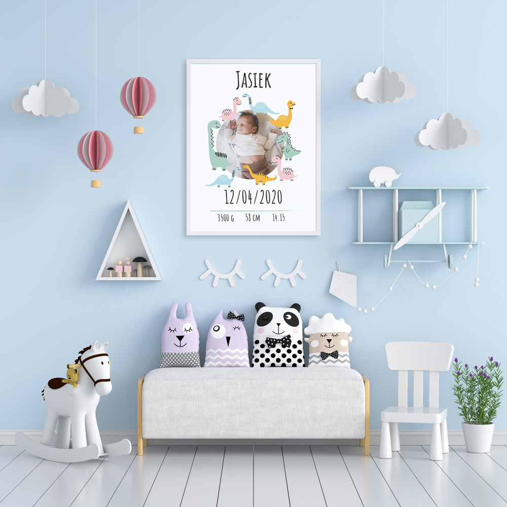 Plakat metryczka ze zdjęciem dziecka 30x40cm personalizowana pastelowe dino