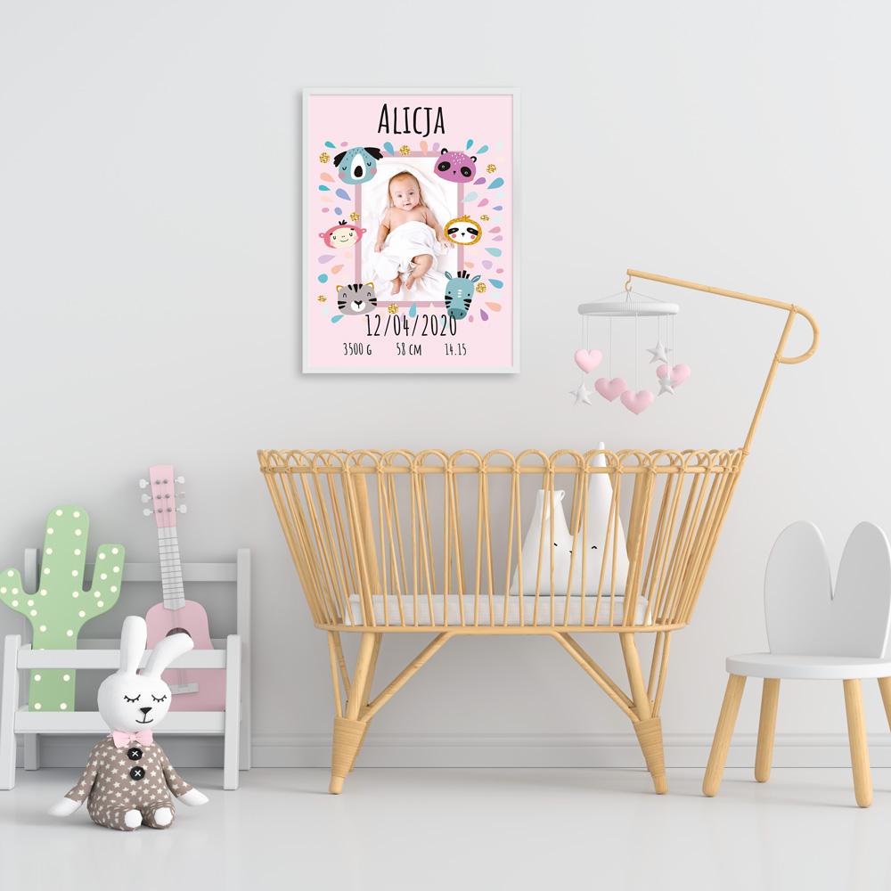 Plakat metryczka ze zdjęciem dziecka 30x40cm personalizowana wzór pastelowe zwierzaczki