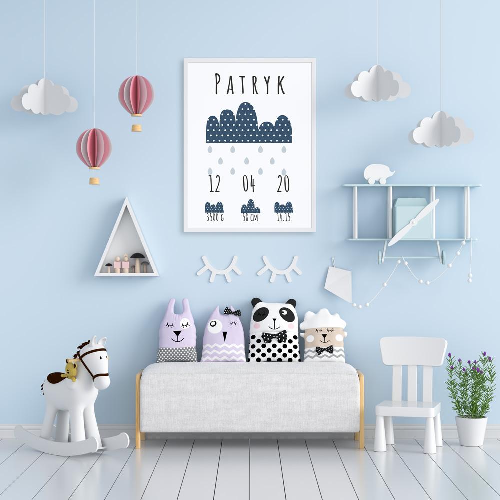 Plakat metryczka dziecka personalizowana granatowe chmurki