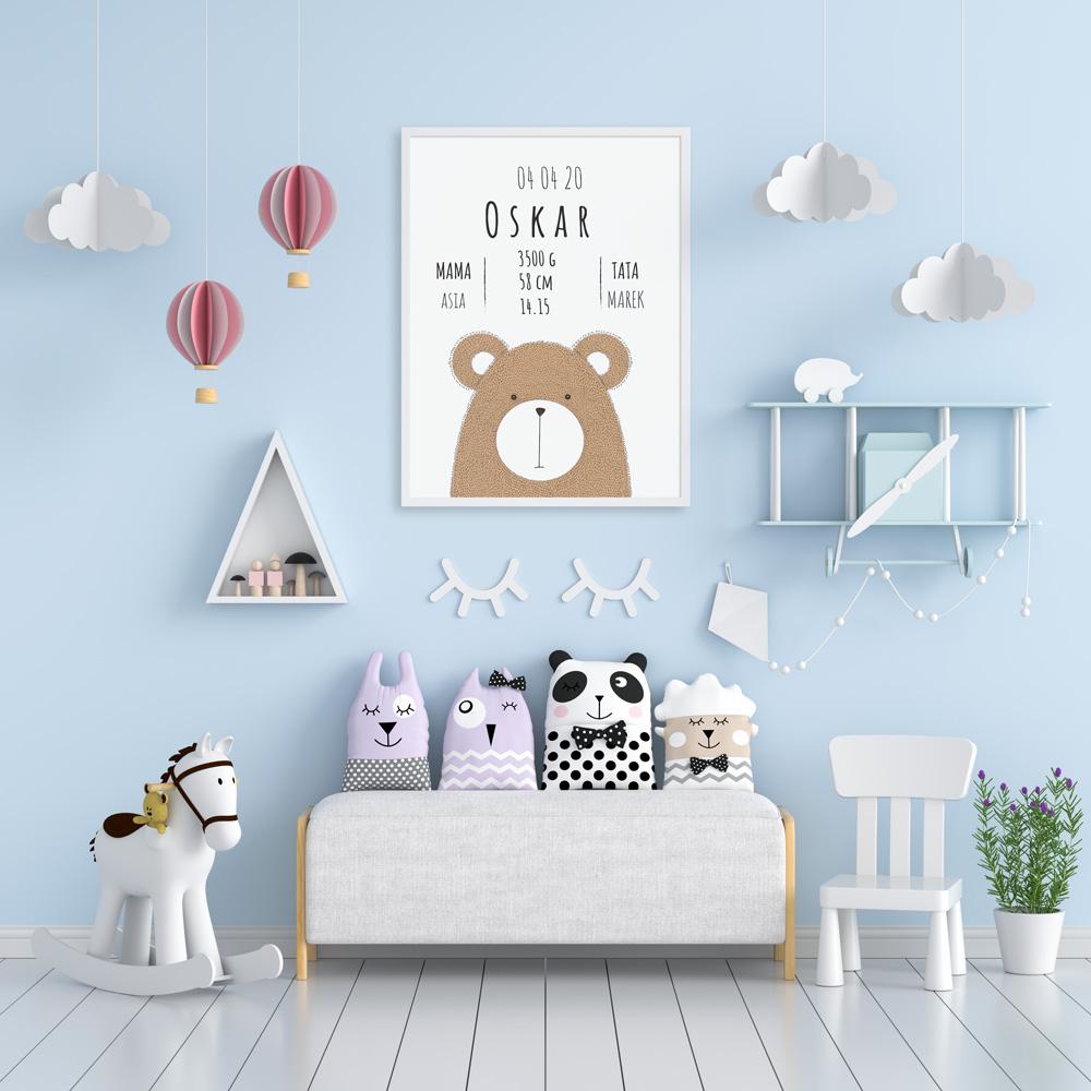 Plakat metryczka dziecka 30x40cm personalizowana pluszakowe love