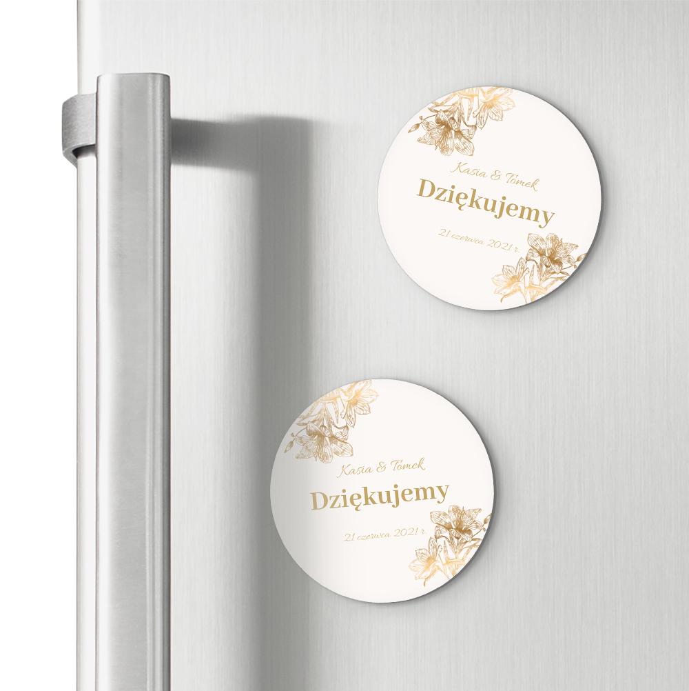 Magnesy ślubne personalizowane podziękowania dla gości złoto glamour