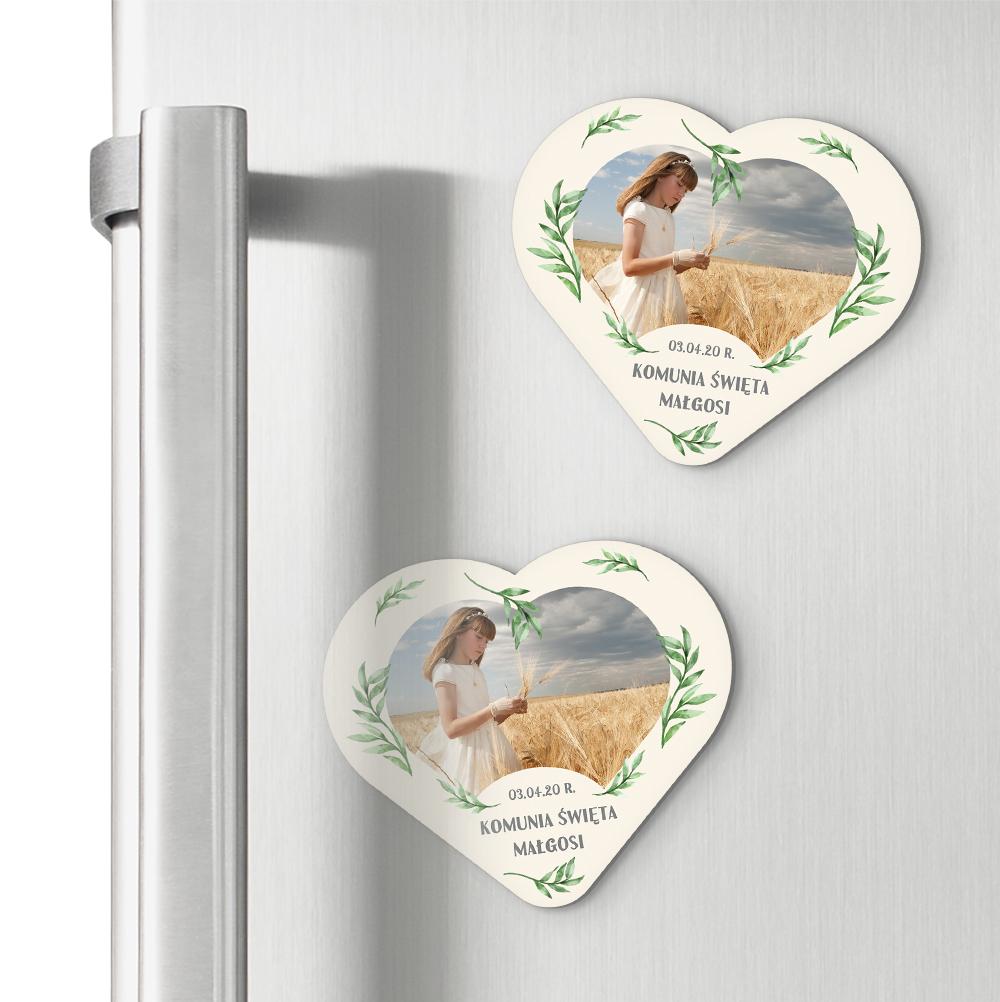 Magnesy personalizowane podziękowania dla gości komunia serce zielone listka