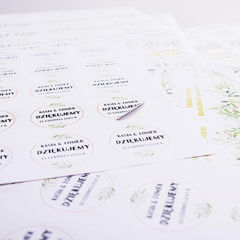 Naklejki personalizowane podziękowania komunia botaniczne liście