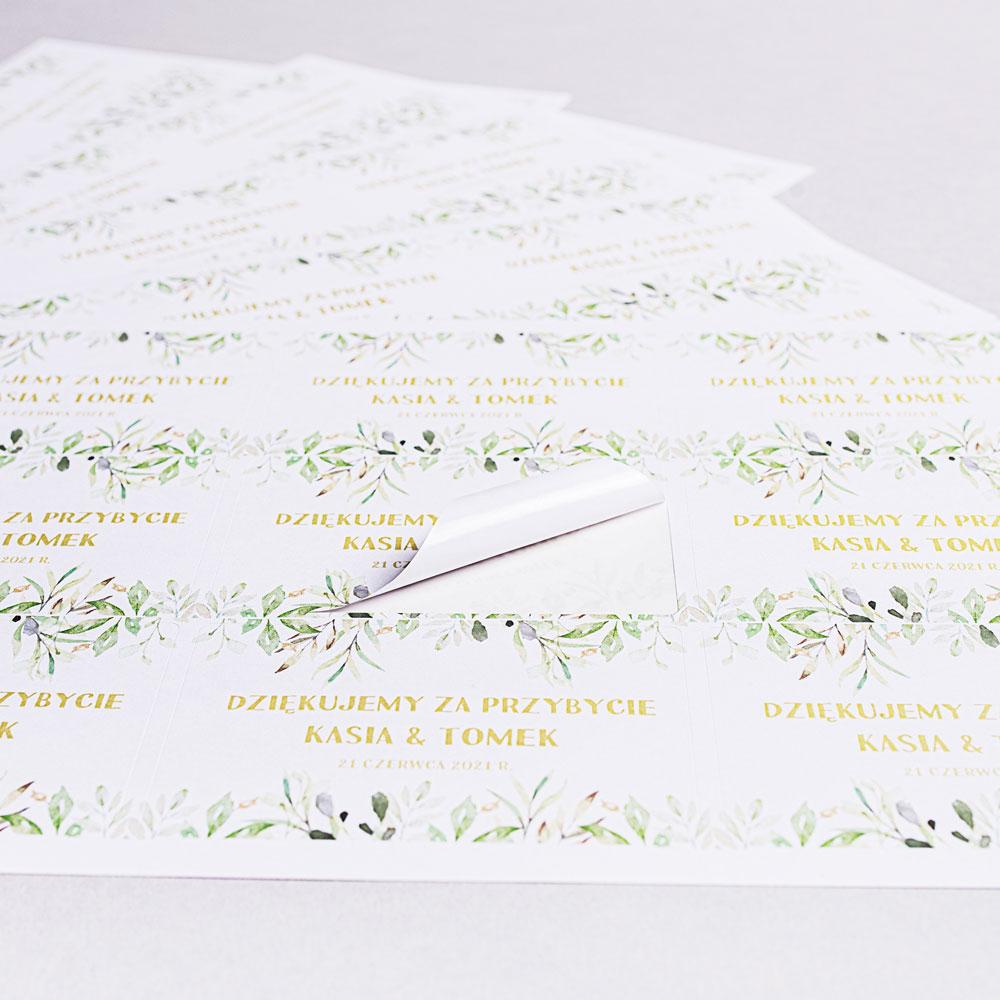 Naklejki etykiety na pudełka na ciasto weselne boho kwiaty jarzębina