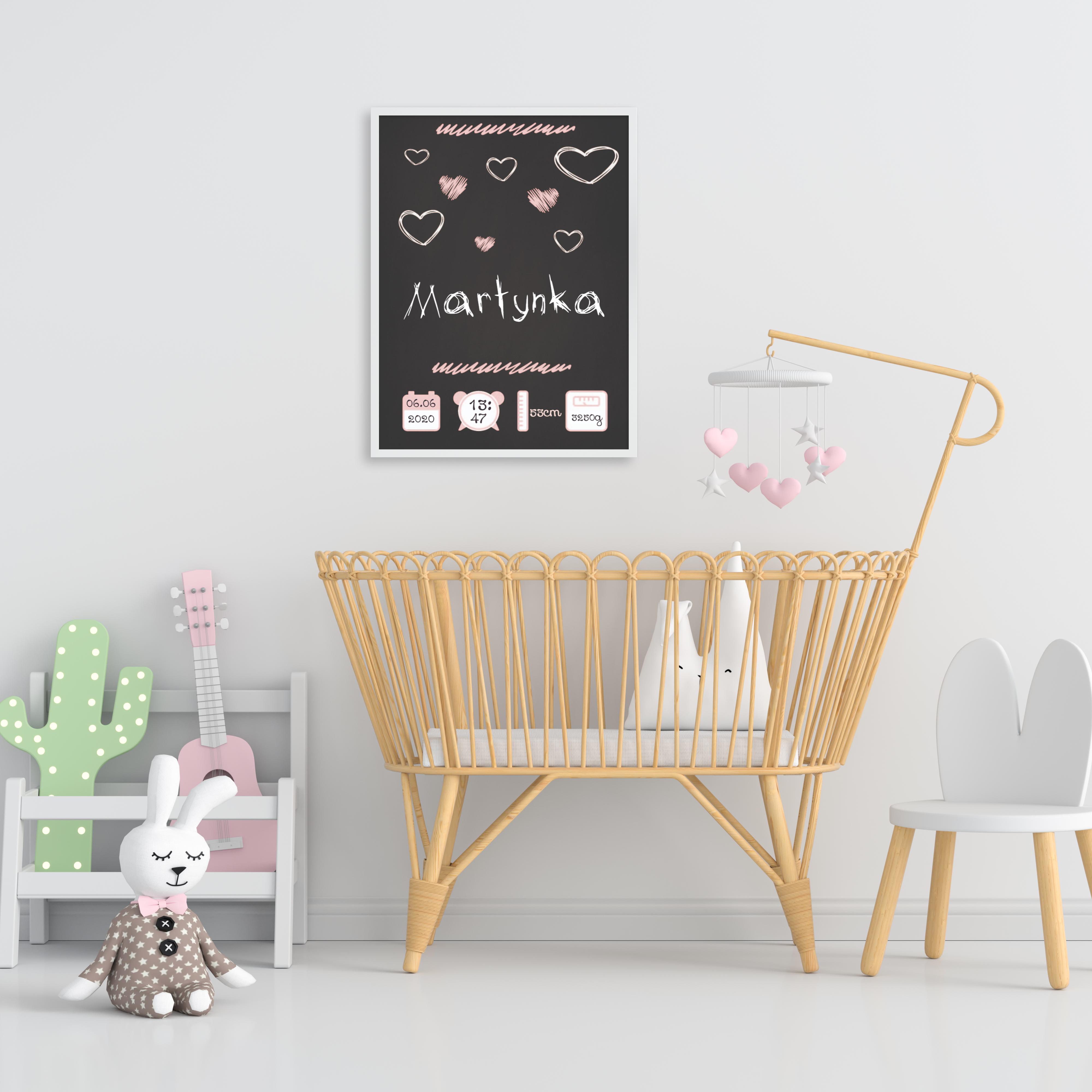 Plakat metryczka dziecka A3 personalizowana tablica dziewczęca