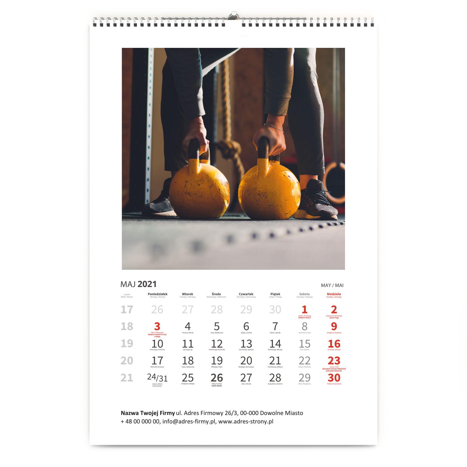 Kalendarz klasyczny imieniny, święta, nazwa firmy z Twoimi zdjęciami