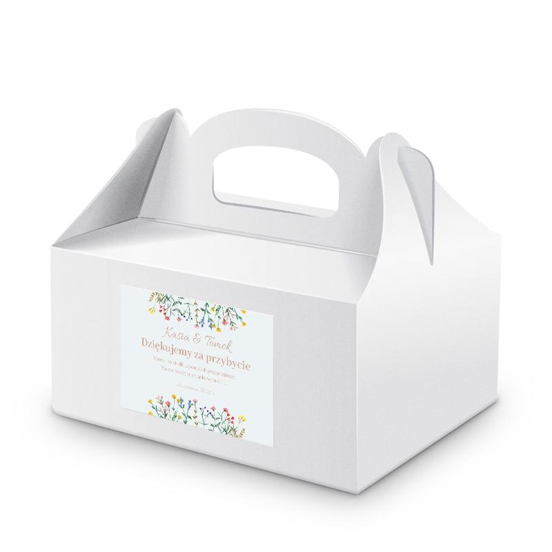 Naklejki etykiety na pudełka na ciasto weselne kwiaty polne