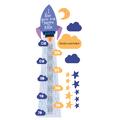 Miarka wzrostu z imieniem niebieska rakieta