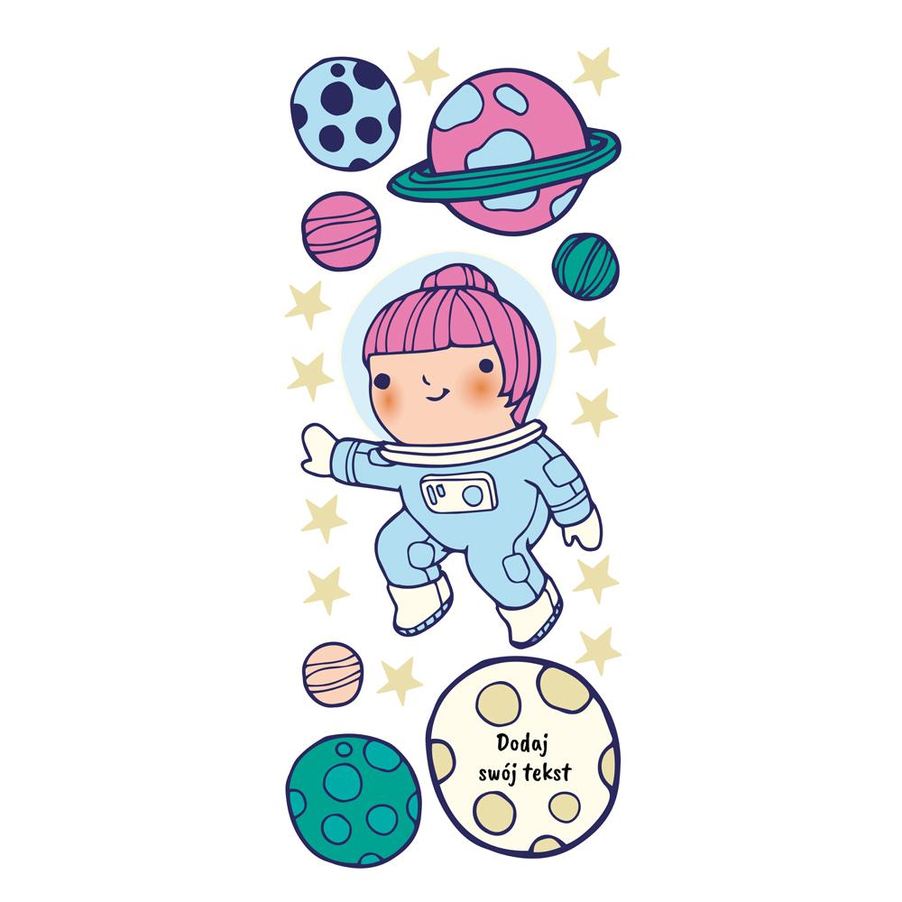 Naklejka na ścianę z imieniem dziewczynka kosmos
