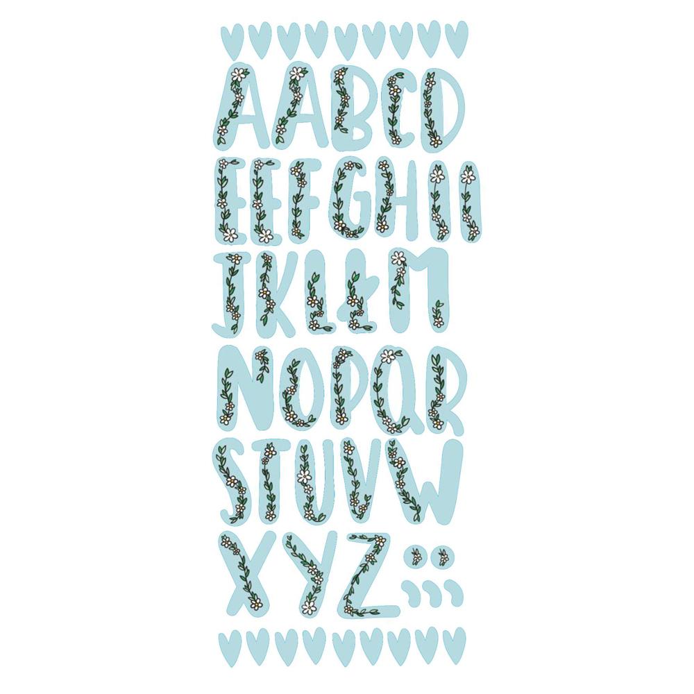 Naklejka edukacyjna dla dzieci alfabet kwiatowy błękit