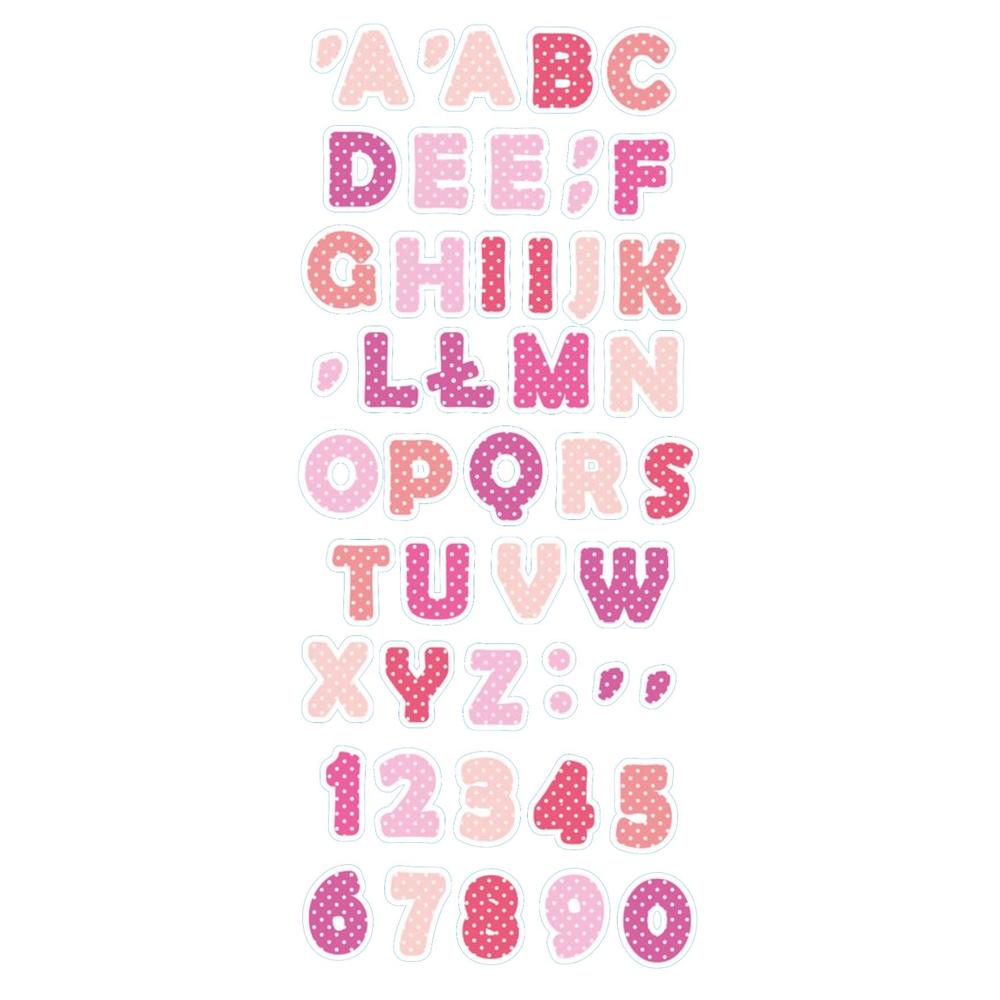 Naklejka edukacyjna dla dzieci alfabet cyferki literki różowe