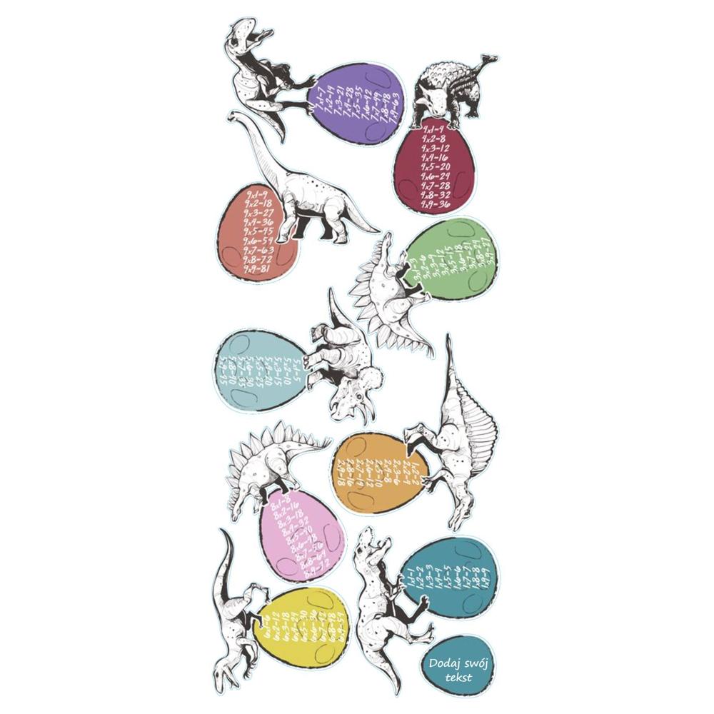 Naklejka na ścianę tabliczka mnożenia personalizowana dinozaury