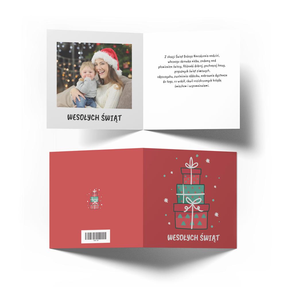 Kartka świąteczna Boże Narodzenie ze zdjęciem prezenty