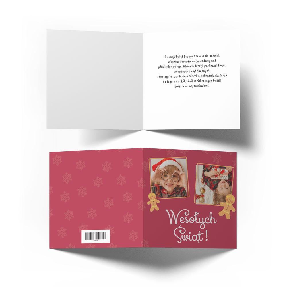 Kartka świąteczna Boże Narodzenie ze zdjęciem pierniczki