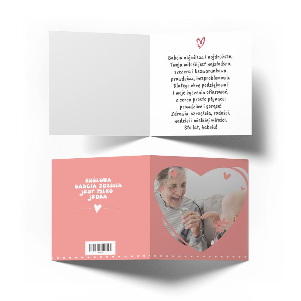 Kartka ze zdjęciem na Dzień Babci różowa serce
