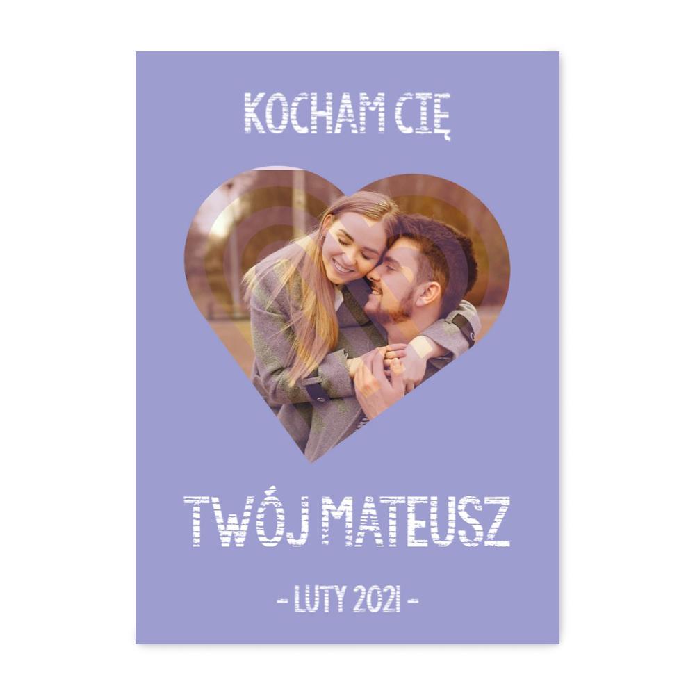 fotoPlakat dla chłopaka ze zdjęciem prezent na Walentynki serce B2