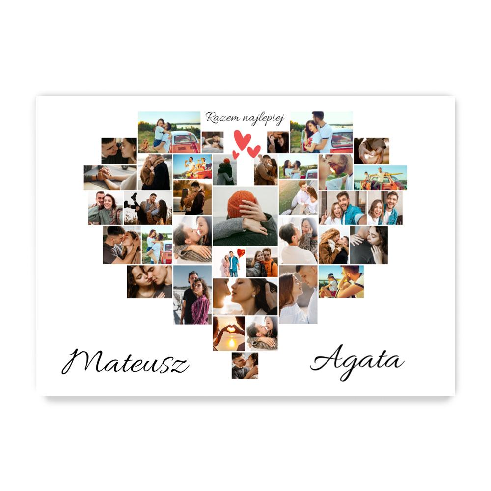 Plakat ze zdjęć do ramki ikea 50x70 kolaż zdjęć w kształcie serca serce