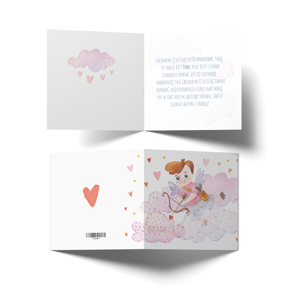 Kartka Walentynkowa dla chłopaka strzała amora