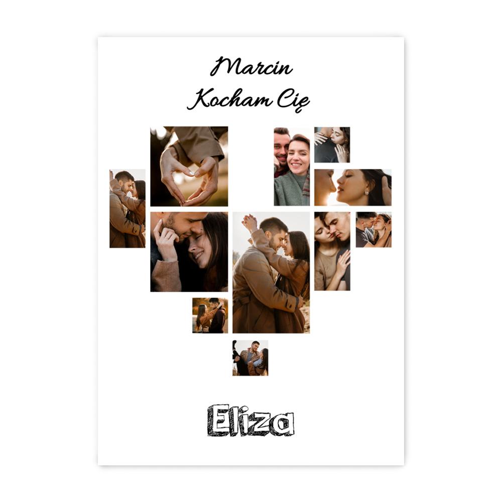 Plakat z własnych zdjęć do ramki ikea 50x70 dla chłopaka serce prezent na Walentynki