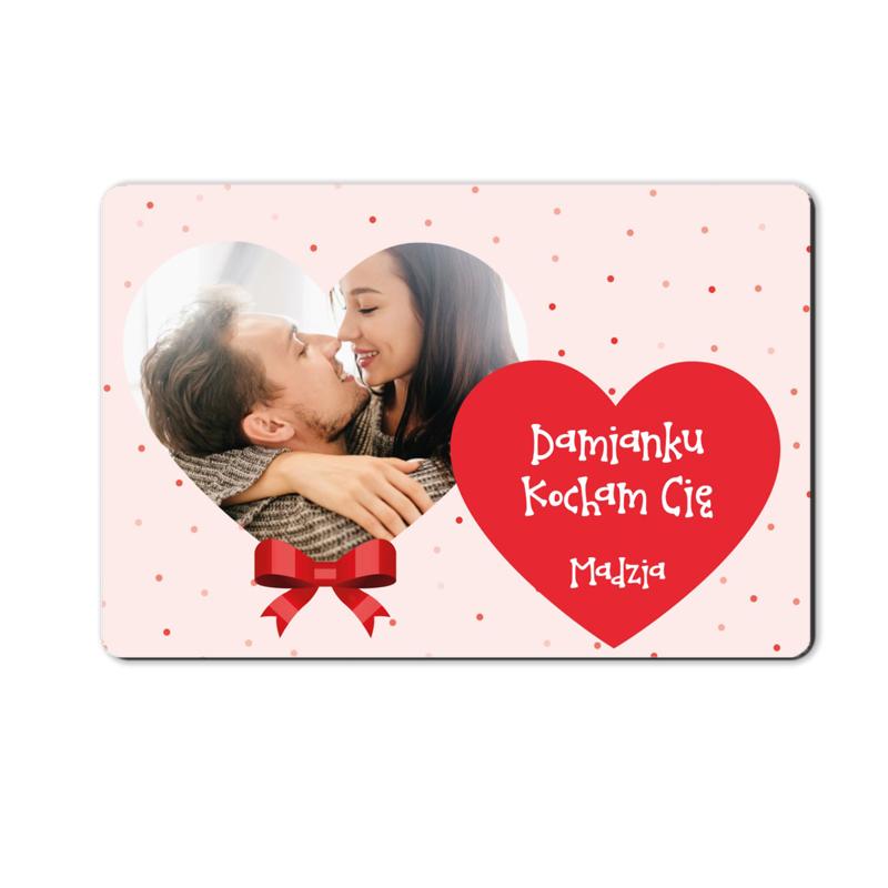foto magnes ze zdjęciem na walentynki dla chłopaka serca dwa 15 x 10 cm