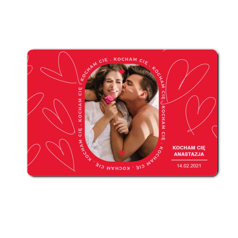 foto magnes ze zdjęciem na walentynki dla chłopaka czerwony 15 x 10 cm