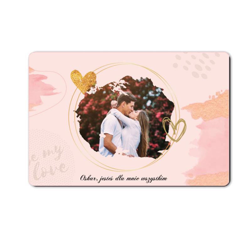 foto magnes ze zdjęciem na walentynki dla chłopaka pudrowy róż 15 x 10 cm