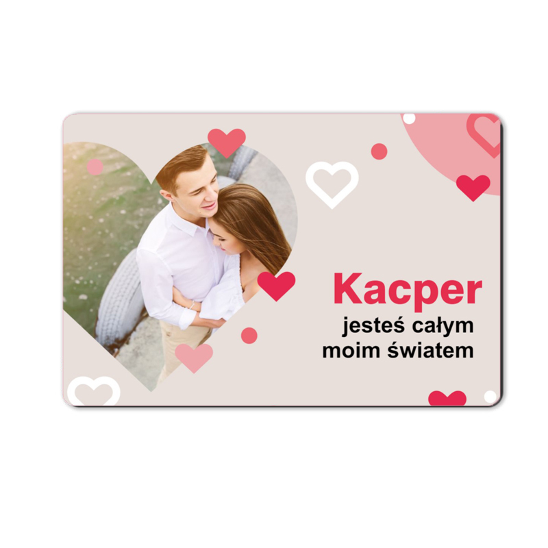 foto magnes ze zdjęciem na walentynki dla chłopaka dużo serc 15 x 10 cm