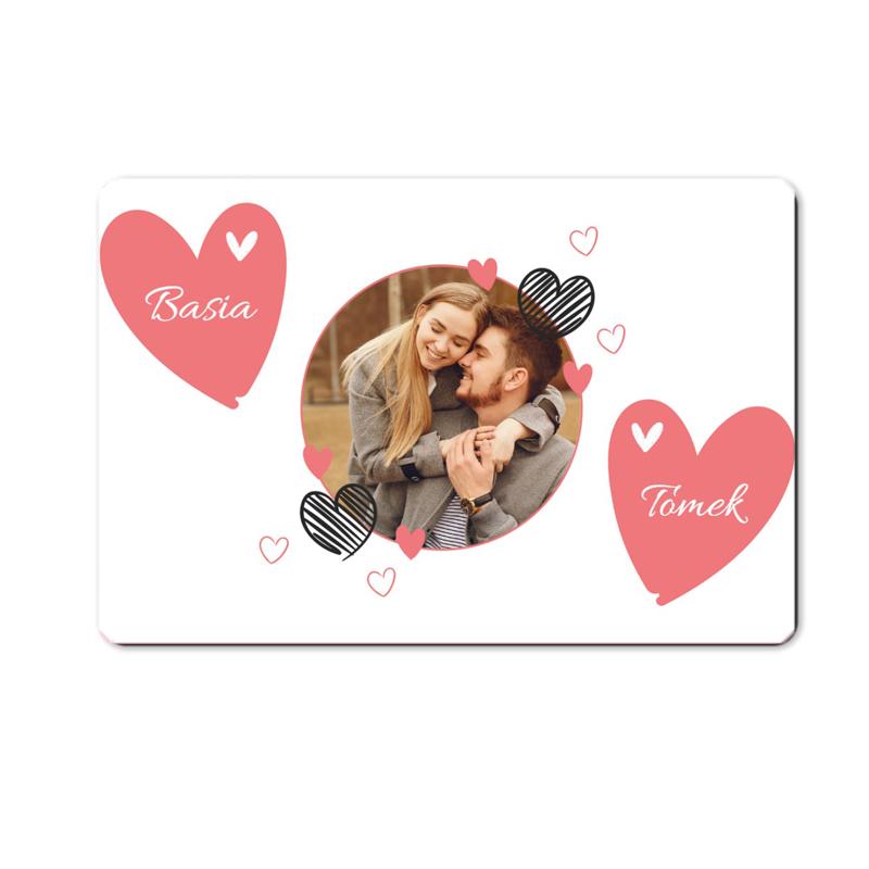 foto magnes ze zdjęciem na walentynki dla chłopaka kółeczko 15 x 10 cm