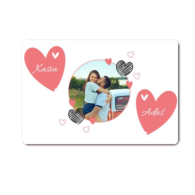 foto magnes ze zdjęciem na walentynki dla dziewczyny kółeczko 15 x 10 cm