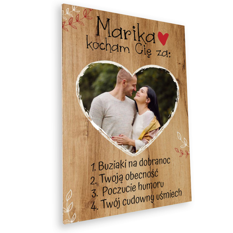 Deska z nadrukiem na prezent na Walentynki serce dla chłopaka
