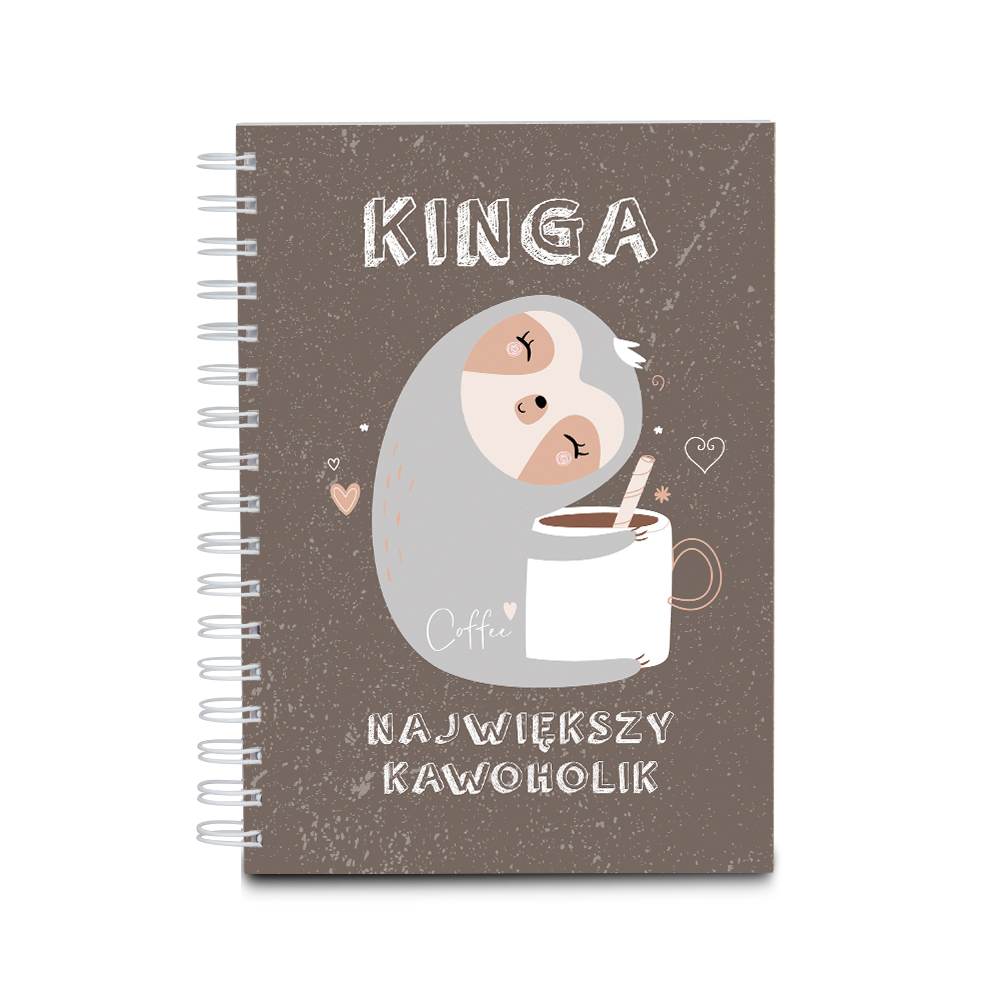 Notes personalizowany na spirali twarda oprawa 60 kartek kawoholik na walentynki dla chłopaka