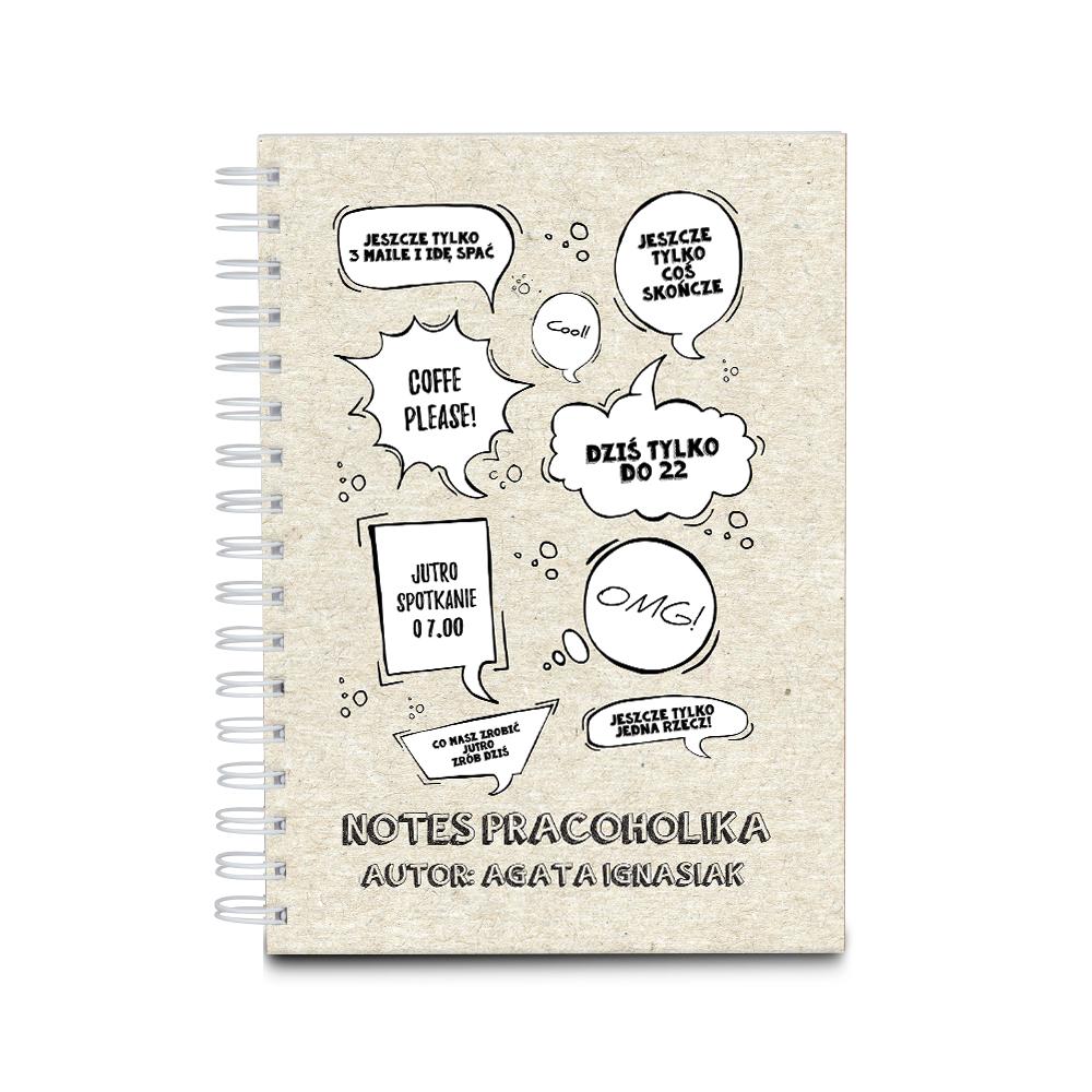 Notes z własnym nadrukiem pracoholik