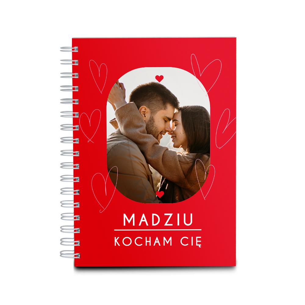 Notes personalizowany ze zdjęciem czerwony