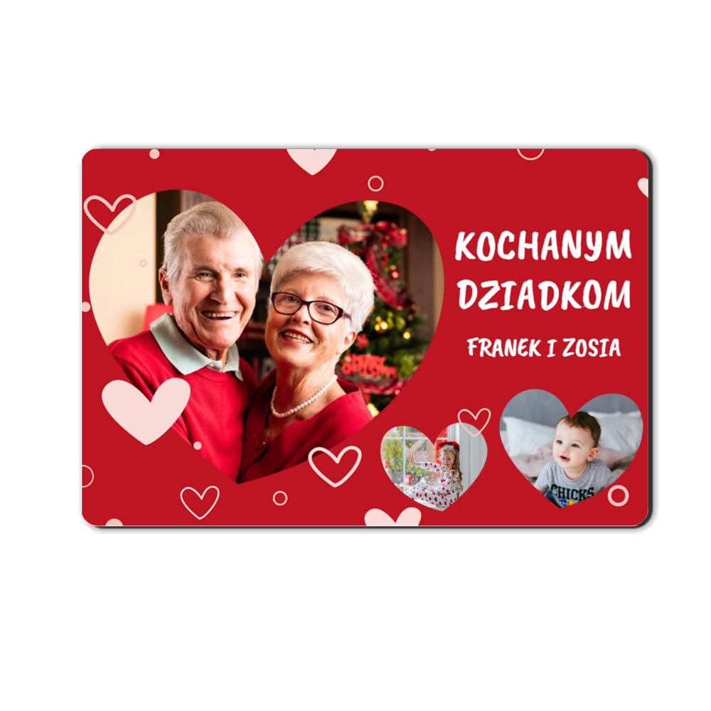 foto magnes ze zdjęciem dla Babci i Dziadka serca 15 x 10 cm