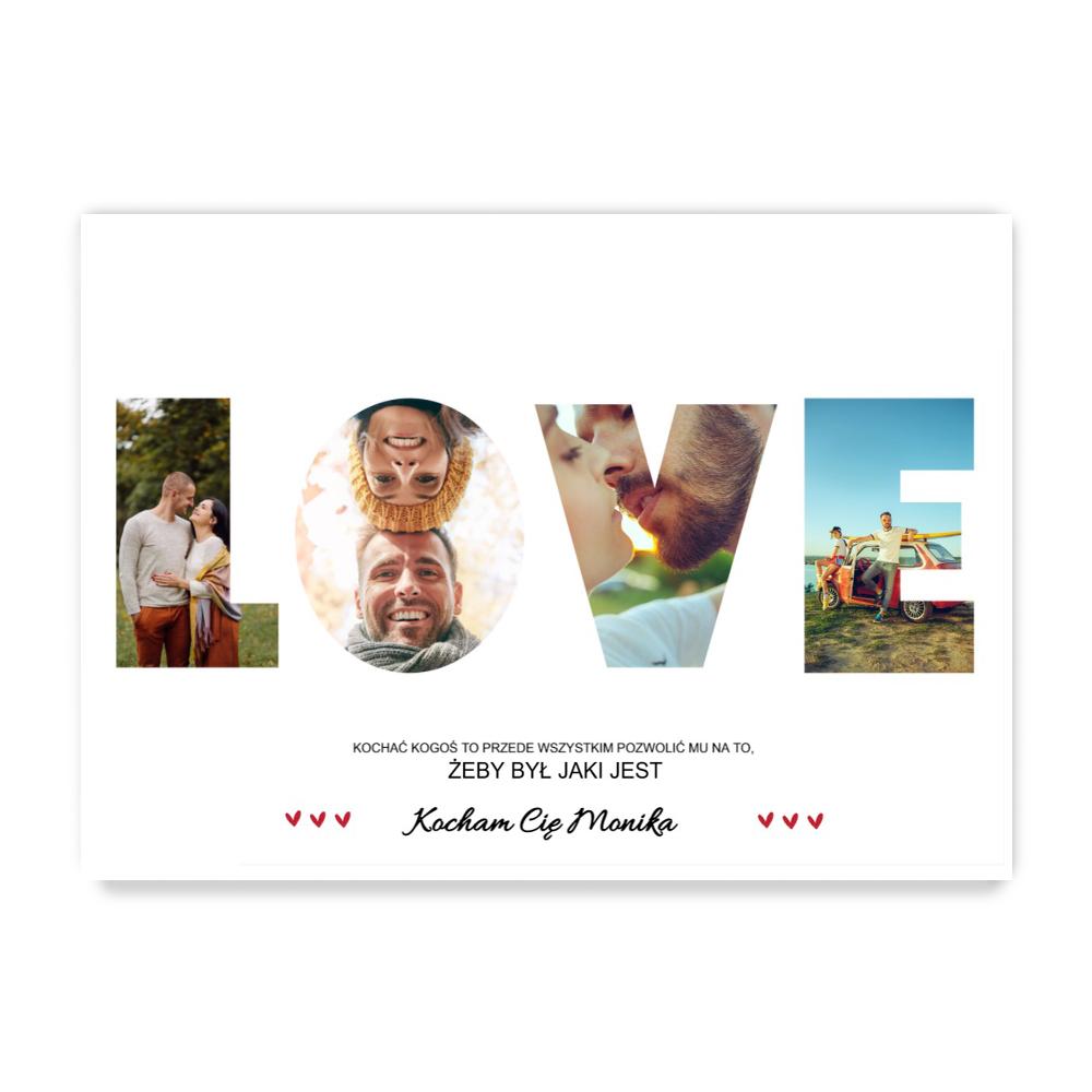 fotoPlakat B2 poziom LOVE kolaż zdjęć