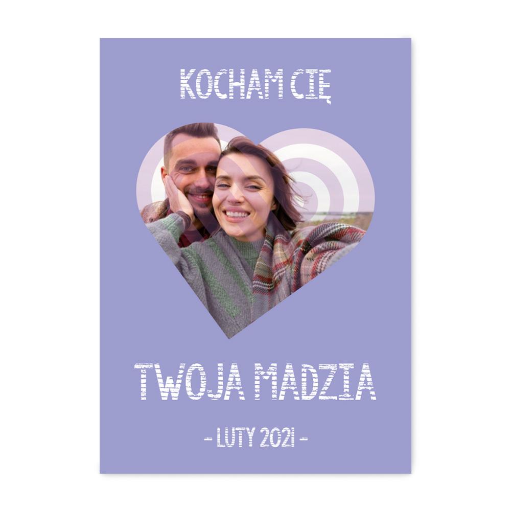 Plakat z własnych zdjęć do ramki ikea 50x70 fioletowe serce